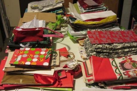 First up - sorting and organizing the paper, tissue, bags and fabric... (yikes that's a lot)