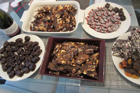 While the chocolates set, we used the extra to dip Swedish Fish (addictive!), pretzels and apricots. And to make bark: peppermint candy, dried nuts & fruit, and cashew, toffee & sea salt.
